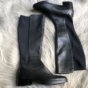New Tory Burch Black Tall Leather Boots 6.5